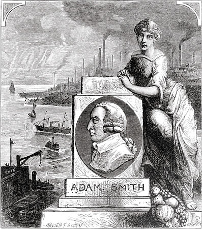 19th Century woodcut depicting Adam Smith and the Industrial Revolution