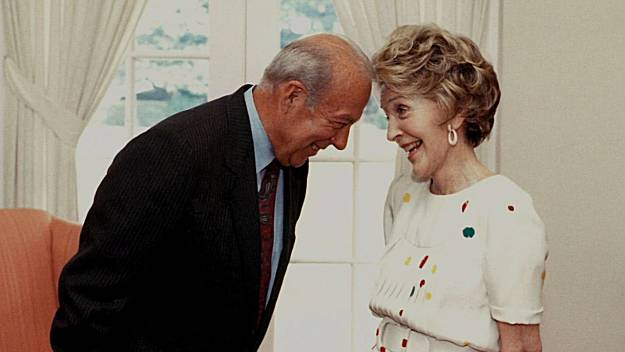 George Shultz and Nancy Reagan