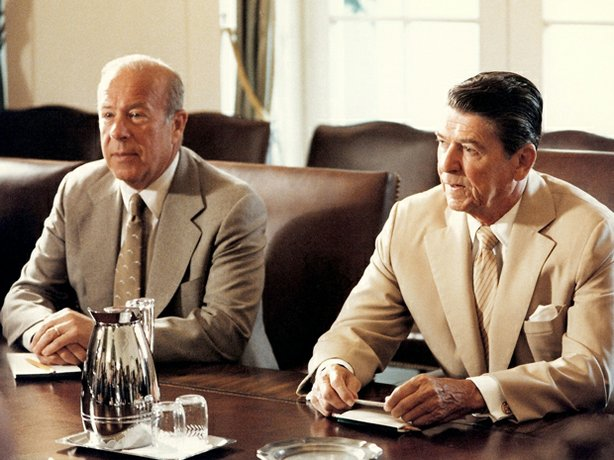 George Shultz and Ronald Reagan