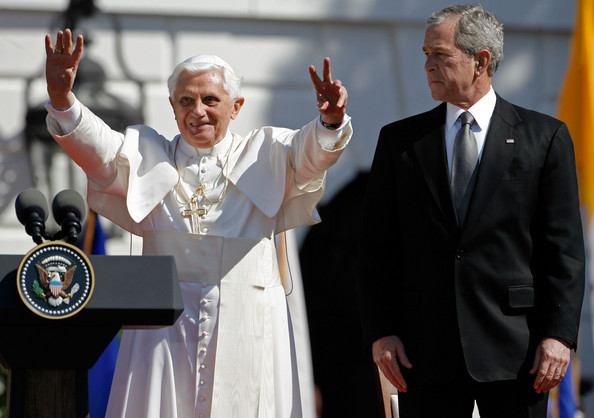Pope Benedict XIV and President George W Bush